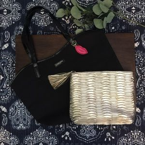 Lancôme tote & gold makeup bag